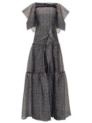 Roland Mouret Rogers Draped Tiered Dress Silver Multi