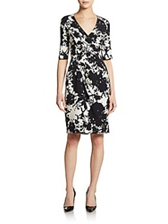 Saks Fifth Avenue Black Pleated Faux Wrap Dress Black Cream