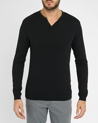 Ikks Black Grandad Collar Leather Details Sweater