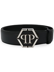 Philipp Plein Branded Buckle Belt Black