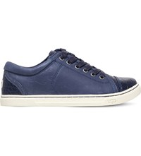 Ugg Taya Crocodile Embossed Leather Trainers Navy