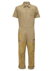 Fendi Suede Patch Cotton Overalls Green
