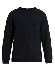 Tomorrowland Zip Detail Wool Blend Fleece Sweater Navy