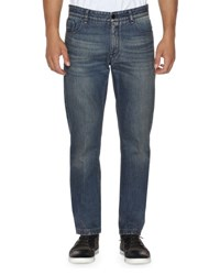Fendi Straight Leg Denim Jeans With Face Dark Blue