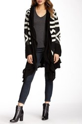 Olivia M Ruffled Trim Aztec Print Wrap Sweater Black