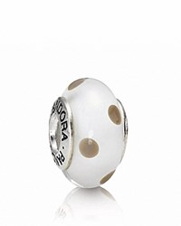 Pandora Design Pandora Charm Murano Glass And Sterling Silver White Beige Polka Dots Moments Collection White Beige Silver