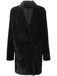 Liska Double Breasted Mink Fur Coat Black