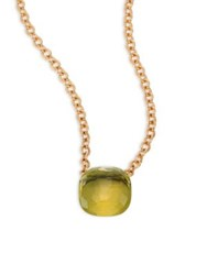 Pomellato 18K Rose Gold Lemon Quartz Pendant Necklace Rose Gold Lemon Quartz