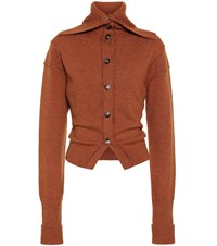 Chloe Wool And Cashmere Cardigan Brown