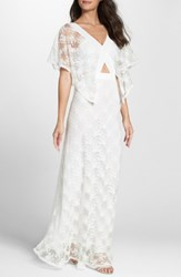 Foxiedox Women's August Handkerchief Sleeve Embroidered Long Dress Ivory