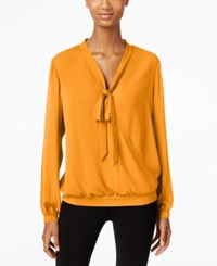Ny Collection Tie Neck Faux Wrap Top Inca Gold