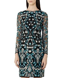 Reiss Alianna Embroidered Dress Emerald Sea Black