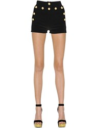 Balmain High Waist Buttoned Denim Shorts