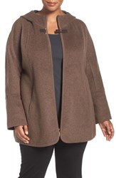 Ellen Tracy Plus Size Women's Double Face Zip Front Hooded Jacket