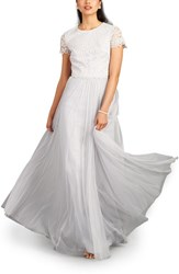 Women's Donna Morgan 'Amelia' Lace And Tulle Two Piece Gown Platinum
