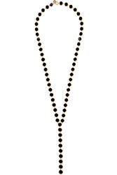 Arme De L'amour Gold Plated Enamel Necklace Black Gbp