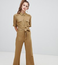 Monki Utility Belted Jumpsuit In Khaki Red