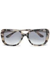Roland Mouret Square Frame Tortoiseshell Acetate And Gold Tone Sunglasses Taupe