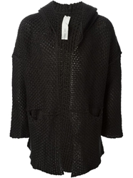 Isabel Benenato Hooded Thick Knit Cardigan Black