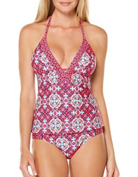 Laundry By Shelli Segal Plunge Halter Strap Tankini Pink