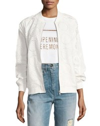 Opening Ceremony Anglaise Cotton Bomber Jacket White