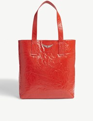 Zadig And Voltaire Shadow Creased Patent Leather Tote Red
