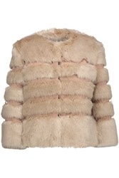 Ainea Faux Fur And Satin Coat Beige