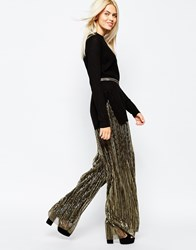 Monki Pleated Metallic Wide Leg Trouser Black