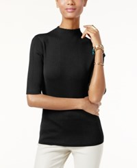Inc International Concepts Mock Turtleneck Ribbed Sweater Only At Macy's Deep Black