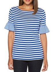 Rafaella Bell Sleeve Striped Gingham Cotton Tee Yacht Blue