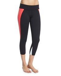Live The Process Contour Colorblock Capri Leggings Black Poppy White