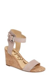 Sam Edelman Women's Willow Strappy Wedge Sandal Taupe Rose Leather
