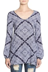 See You Monday Print Cold Shoulder Tunic Juniors Blue