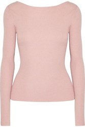 Elizabeth And James Fay Tie Back Ribbed Knit Sweater Pastel Pink