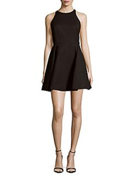 Halston Solid Cotton Blend Fit And Flare Dress Black