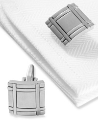 Kenneth Cole Reaction Cufflinks Brushed Rhodium Square Boxed Set Silver