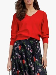 Ted Baker Lornini Ribbed Detail Jumper Bright Red