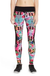 Women's Pink Lotus Print Compression Leggings