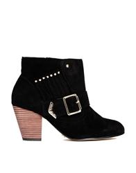 Ravel Mario Leather Buckle Detail Heeled Boots Black