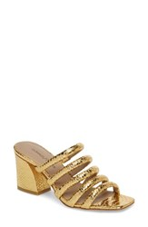 Donald J Pliner Wes Block Heel Mule Gold Leather