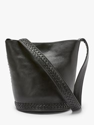 And Or Isabella Leather Whipstitch Small Bucket Bag Black
