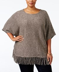 Ny Collection Plus Size Knit Fringe Poncho Sweater Brown Marl