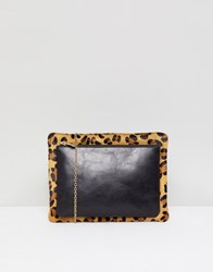 Urbancode Leather 2 In 1 Cross Body Bag With Detachable Pouch Black Leopard Multi