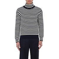 Moncler Men's Striped Virgin Wool Turtleneck Sweater Ivory