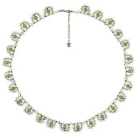 Eclectica Vintage 1960S Vendome Chrome Plated Faux Pearl Swarovski Cystal Necklace Pearl