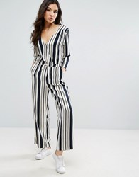 Only Wrap Front High Waist Jumpsuit Pumice Stone Stripe Cream