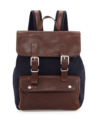 Brunello Cucinelli Buffalo Leather Backpack Navy Brown