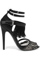 Giambattista Valli Fringed Suede Lace And Satin Sandals Black