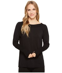 Tribal Long Sleeve French Terry Boat Neck Top Black Women's Long Sleeve Pullover