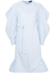 Eudon Choi Belted Puff Sleeved Dress Blue